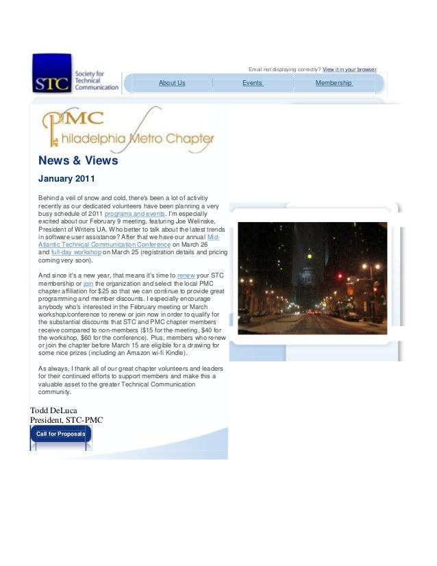 Email not displaying correctly? View it in your browser. About Us Events Membership News & Views January 2011 Behind a vei...