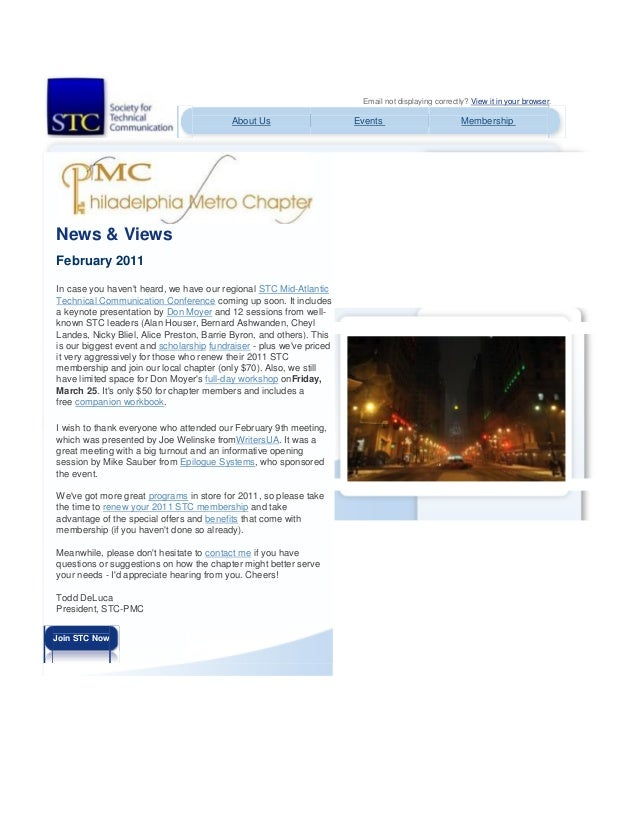 Email not displaying correctly? View it in your browser. About Us Events Membership News & Views February 2011 In case you...