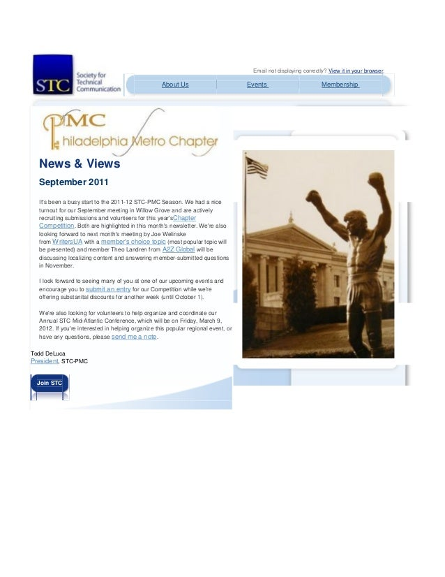 Email not displaying correctly? View it in your browser. About Us Events Membership News & Views September 2011 It's been ...