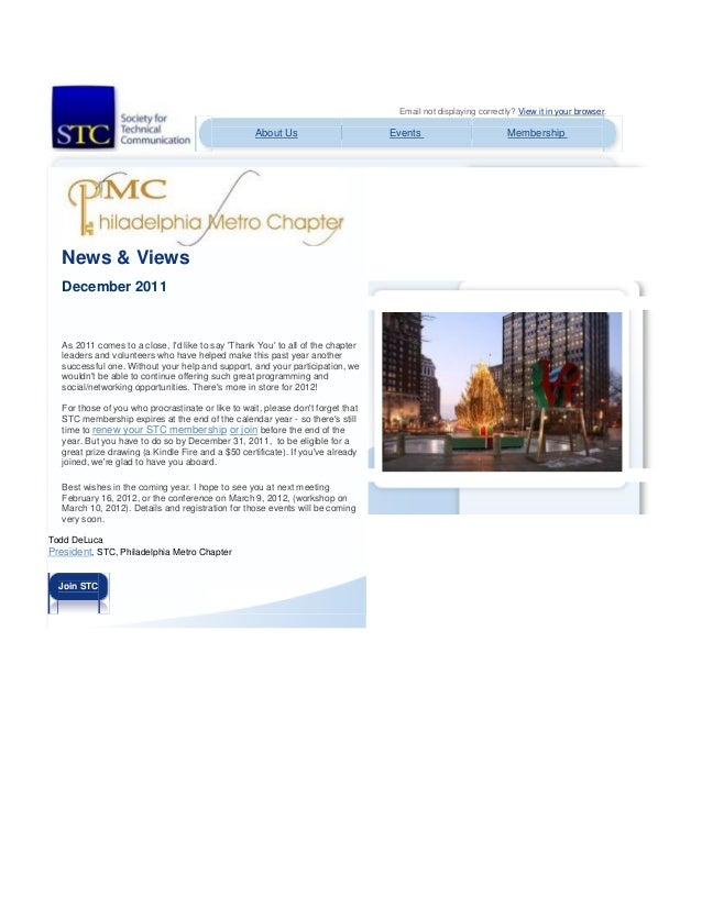 Email not displaying correctly? View it in your browser. About Us Events Membership News & Views December 2011 As 2011 com...