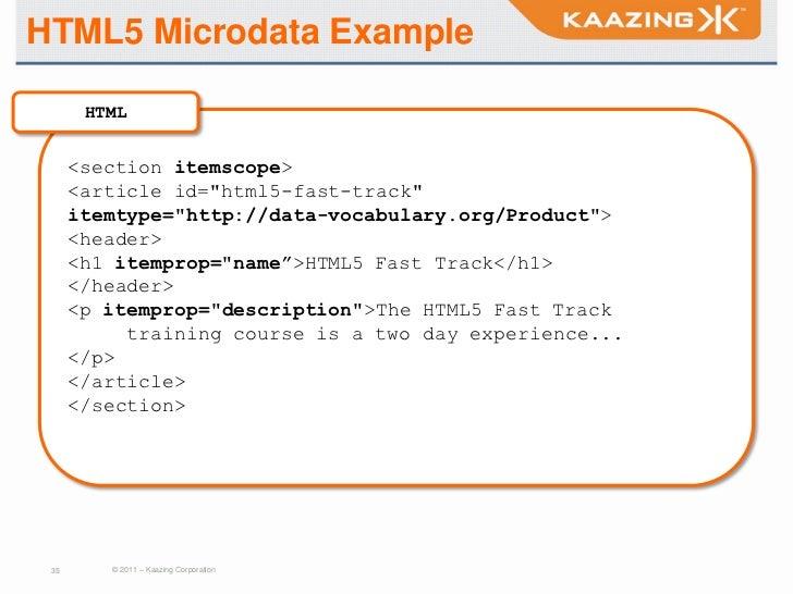 HTML5 Microdata Example HTML