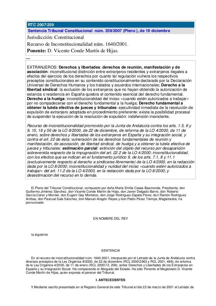 RTC 2007259  Sentencia Tribunal Constitucional núm. 259/2007 (Pleno ), de 19 diciembre Jurisdicción: Constitucional Recurs...