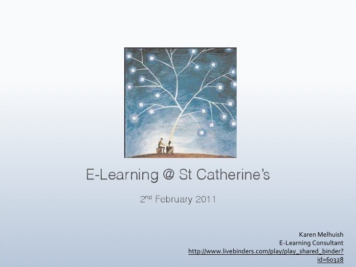 Karen Melhuish E-Learning Consultant http://www.livebinders.com/play/play_shared_binder?id=60328