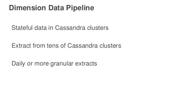 Dimension Data Pipeline Stateful data in Cassandra clusters Extract from tens of Cassandra clusters Daily or more granular...