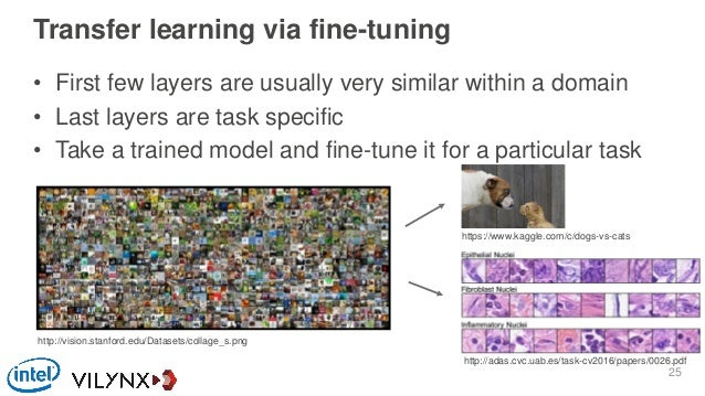 Transfer learning via fine-tuning • First few layers are usually very similar within a domain • Last layers are task speci...