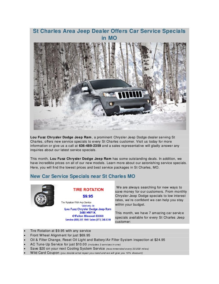St Charles Area Jeep Dealer Offers Car Service Specials In MO Lou Fusz Chrysler  Dodge ...