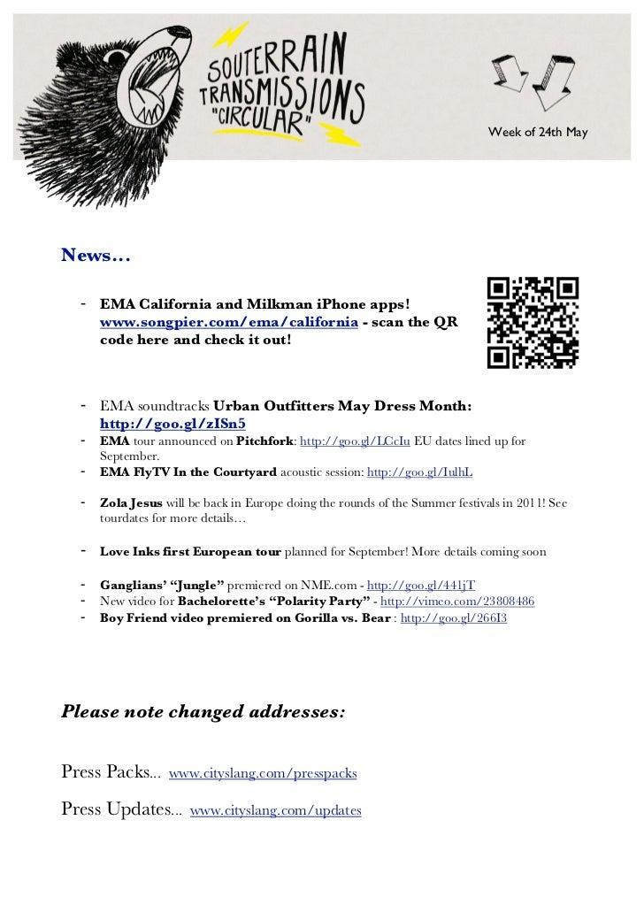 Week of 24th MayNews...  - EMA California and Milkman iPhone apps!    www.songpier.com/ema/california - scan the QR    cod...
