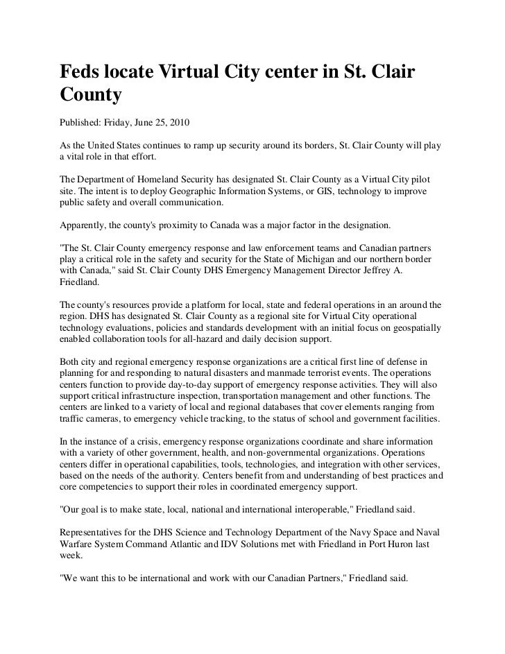 Feds locate Virtual City center in St. Clair County<br />Published: Friday, June 25, 2010<br />As the United States contin...