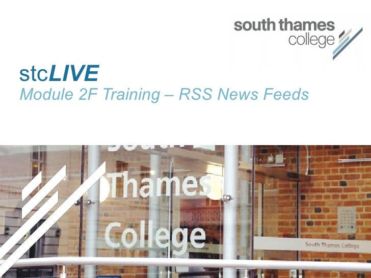stc LIVE Module 2F Training – RSS News Feeds