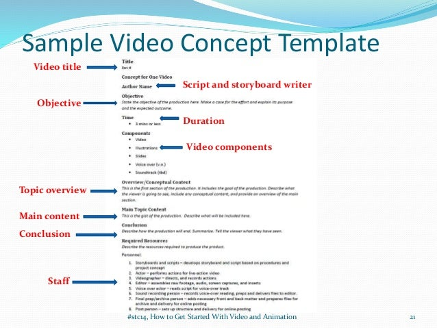 Getting started with video and animation for stc summit 2014 for Promotional video script template