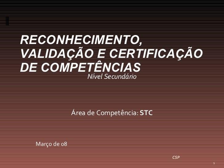 Nível Secundário Área de Competência:  STC Março de 08 CSP RECONHECIMENTO, VALIDAÇÃO E CERTIFICAÇÃO DE COMPETÊNCIAS