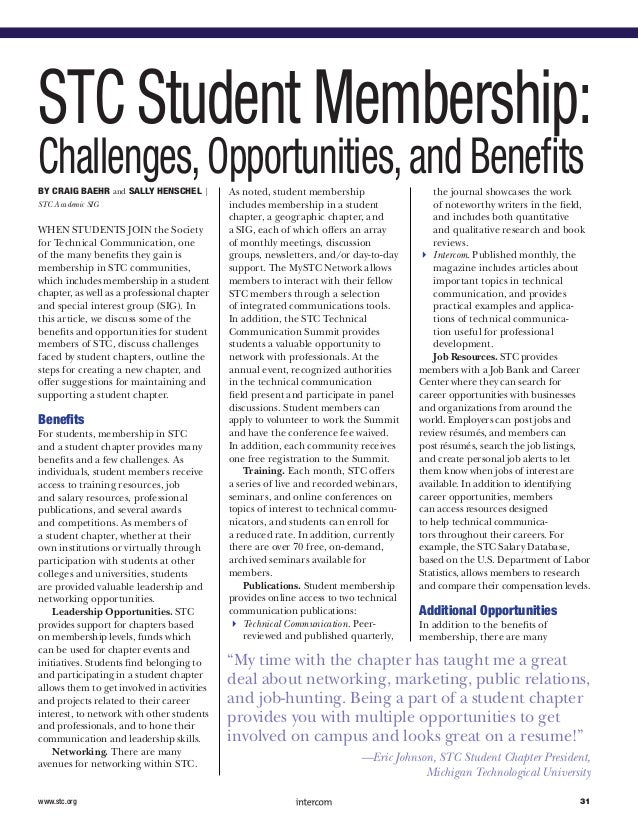 STC Student Membership:Challenges,Opportunities,and BenefitsBy Craig Baehr and Sally Henschel |STC Academic SIGWhen studen...