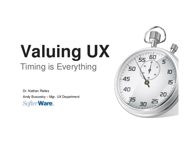 Valuing UX Timing is Everything Dr. Nathan Relles Andy Busovsky – Mgr, UX Department