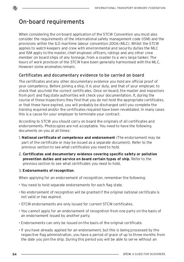 stcw guidein english New requirements for security training for shipboard personnel 1 introduction the stcw convention and code as amended by the manila amendments (2010) contains new requirements regarding security training.