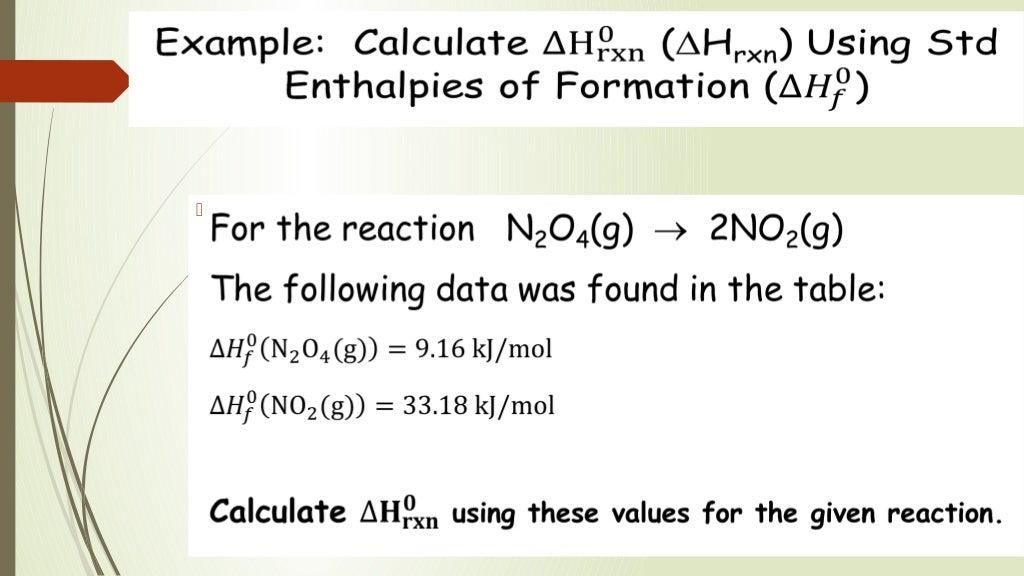 Standard Enthalpy Formation