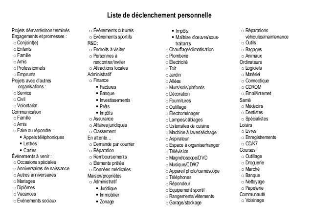 Gtd listes de d clenchement personelle et professionnelle - Outil de cuisine liste ...
