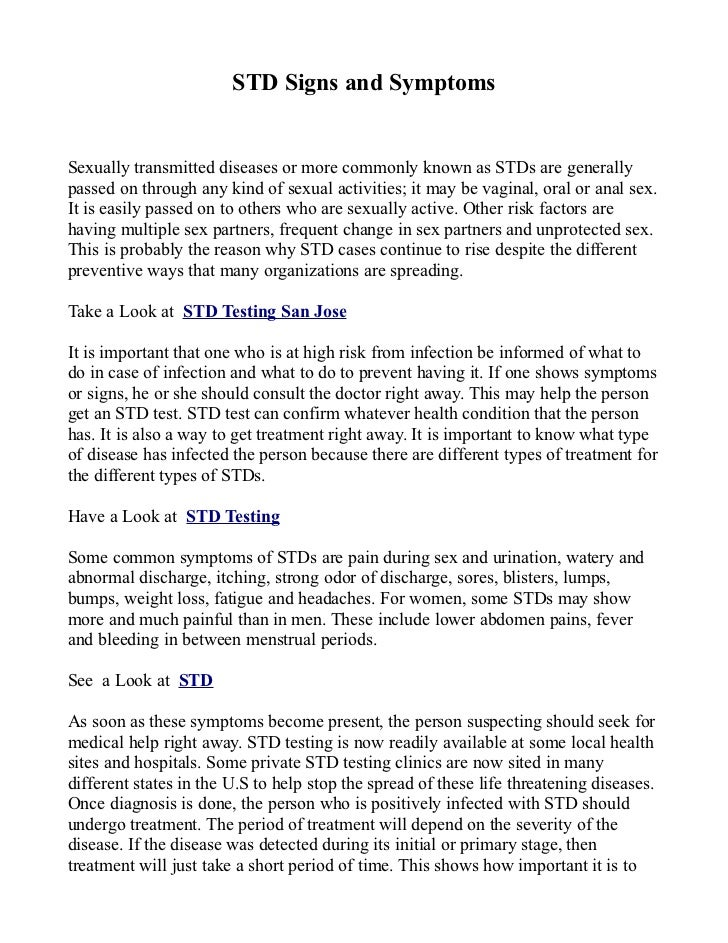 STD Signs and Symptoms