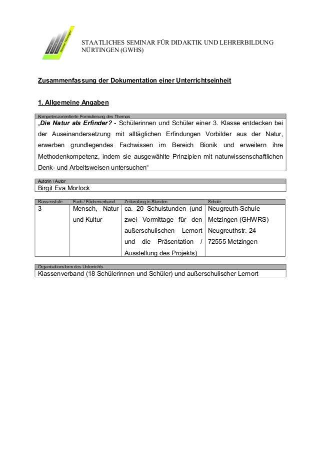 STAATLICHES SEMINAR FÜR DIDAKTIK UND LEHRERBILDUNG                      NÜRTINGEN (GWHS)Zusammenfassung der Dokumentation ...