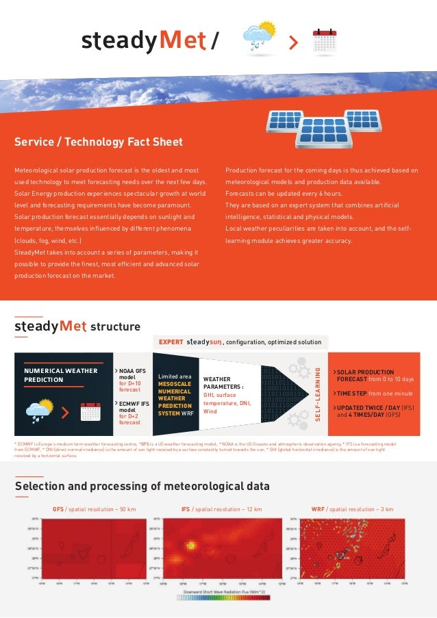 steadyMet / Service / Technology Fact Sheet Meteorological solar production forecast is the oldest and most used technolog...