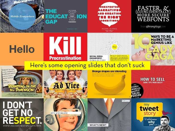 If you're uploading your presentation online a visually stunning opening slide is everything. Just like a book people will...