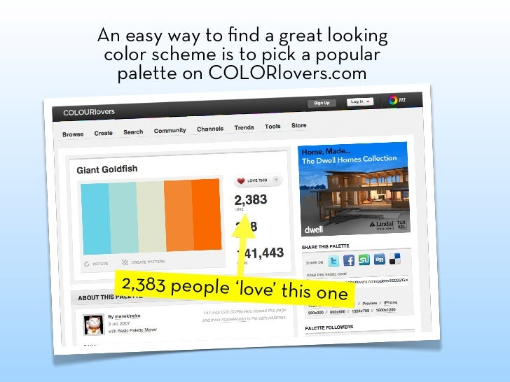 Or use colors found in popular websites or magazines.  For this presentation I wanted to give a gossip magazine feel.