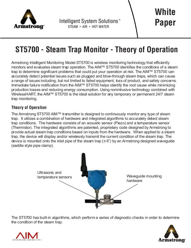 ST5700 - Steam Trap Monitor - Theory of Operation Armstrong Intelligent Monitoring Model ST5700 is wireless monitoring tec...