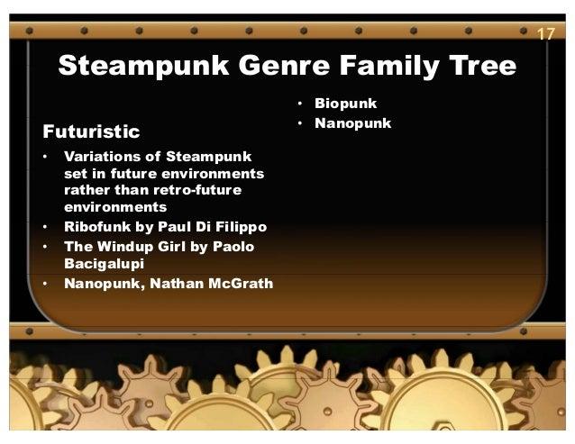17 Steampunk Genre Family Tree Futuristic • Variations of Steampunk set in future environments rather than retro-future en...