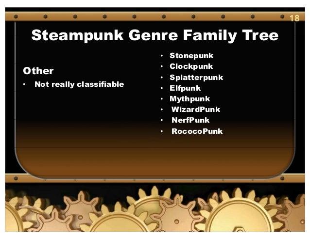 18 Steampunk Genre Family Tree Other • Not really classifiable • Stonepunk • Clockpunk • Splatterpunk • Elfpunk • Mythpunk...