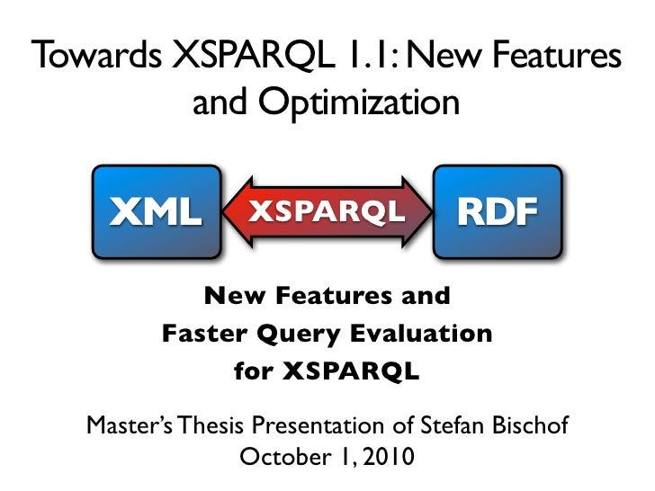 Towards XSPARQL 1.1: New Features          and Optimization       XML          XSPARQL             RDF              New Fe...