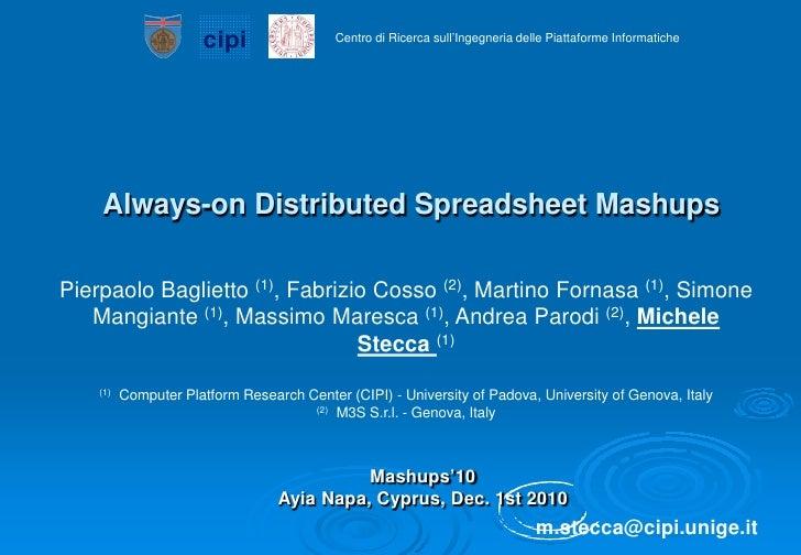cipi                Centro di Ricerca sull'Ingegneria delle Piattaforme Informatiche    Always-on Distributed Spreadsheet ...