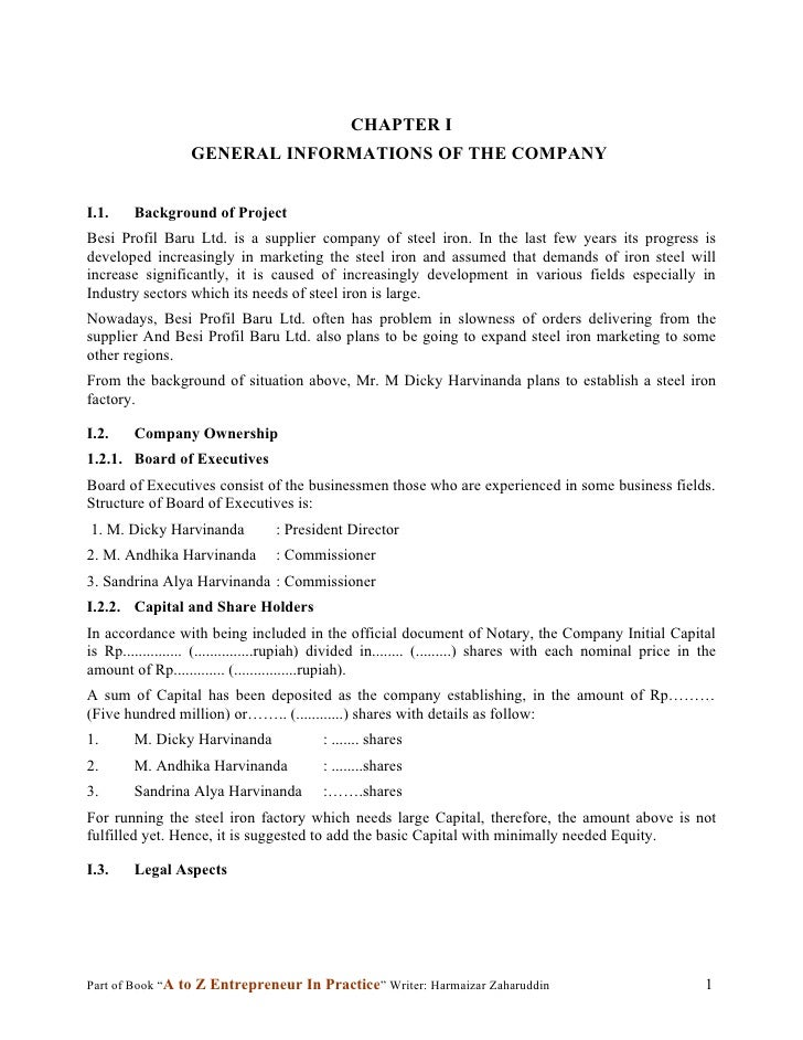 CHAPTER I                   GENERAL INFORMATIONS OF THE COMPANY   I.1.    Background of Project Besi Profil Baru Ltd. is a...