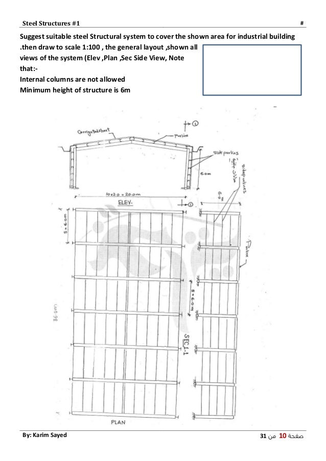 Steel 1 - Layout , Design of Sections - تصميم المنشآت المعدنية