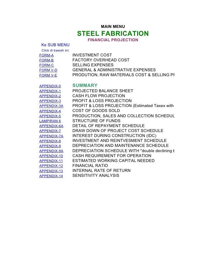 MAIN MENU                          STEEL FABRICATION                               FINANCIAL PROJECTION  Ke SUB MENU  Clic...