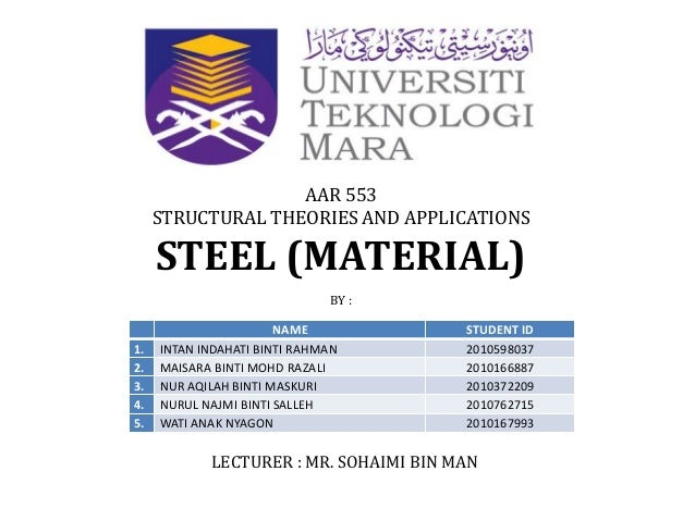 AAR 553     STRUCTURAL THEORIES AND APPLICATIONS     STEEL (MATERIAL)                              BY :                   ...