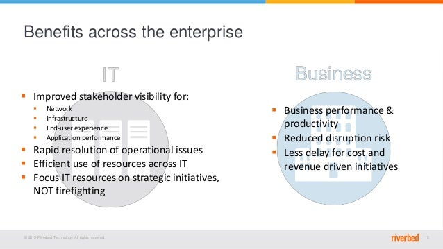 © 2015 Riverbed Technology. All rights reserved. 15 Benefits across the enterprise  Business performance & productivity ...