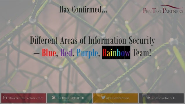 Hax Confirmed… Different Areas of Information Security – Blue, Red, Purple, Rainbow Team!
