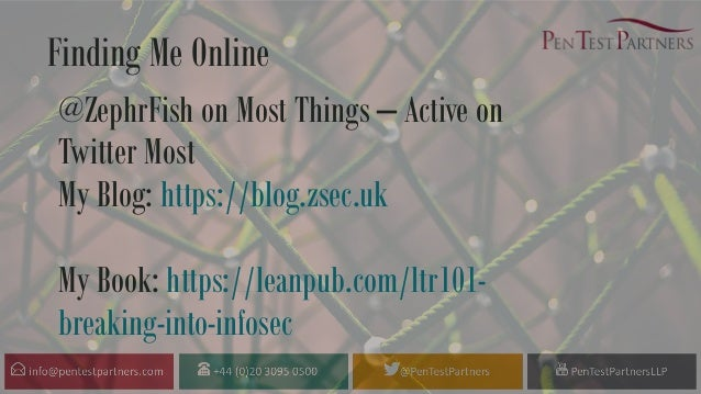 @ZephrFish on Most Things – Active on Twitter Most My Blog: https://blog.zsec.uk My Book: https://leanpub.com/ltr101- brea...