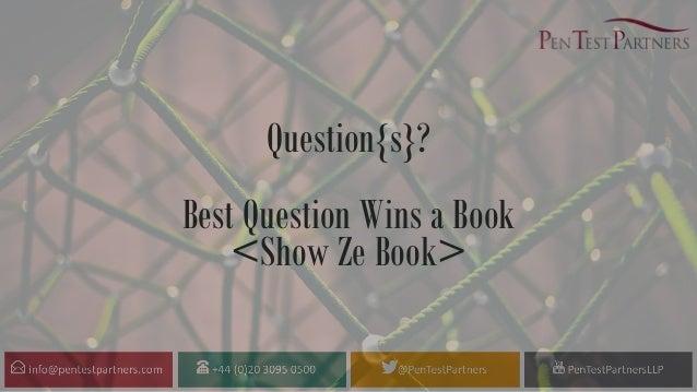 Question{s}? Best Question Wins a Book <Show Ze Book>