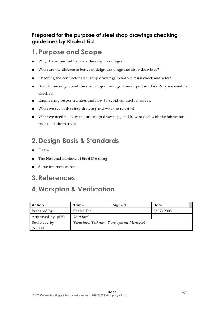 Prepared for the purpose of steel shop drawings checkingguidelines by Khaled Eid1. Purpose and Scope   Why it is importan...
