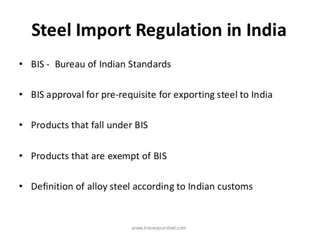 Steel import regulation in india for Bureau hindi meaning