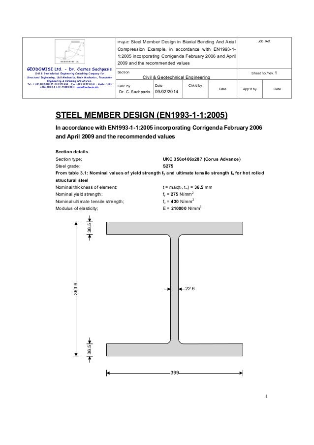Project:  Job Ref.  Steel Member Design in Biaxial Bending And Axial  Compression Example, in accordance with EN1993-11:20...