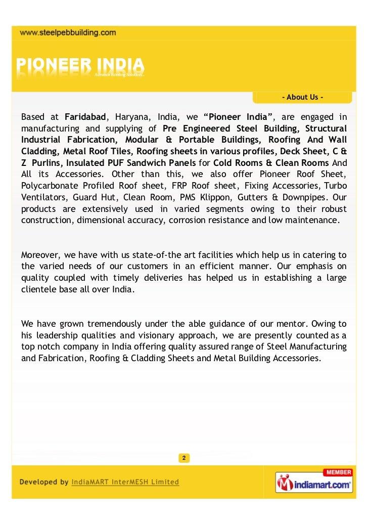 Pioneer India, Faridabad, Steel Buildings Slide 2