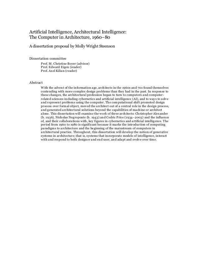 Artificial Intelligence, Architectural Intelligence: The Computer in Architecture, 1960–80 A dissertation proposal by Moll...