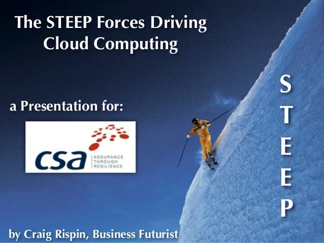 Up The STEEP Forces Driving Cloud Computing a Presentation for: by Craig Rispin, Business Futurist S T E E P