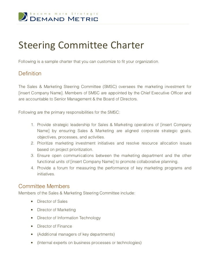 Steering committee charter template friedricerecipe Gallery