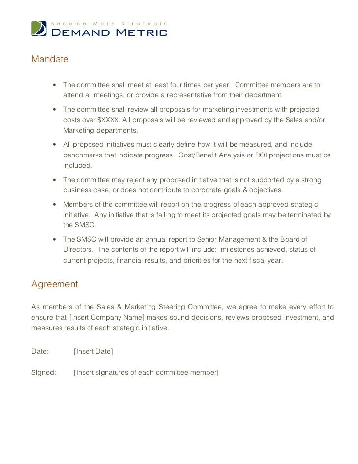 Steering Committee Charter Template