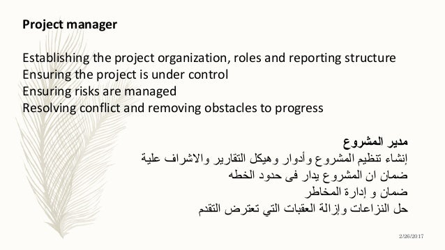 Project manager Establishing the project organization, roles and reporting structure Ensuring the project is under control...