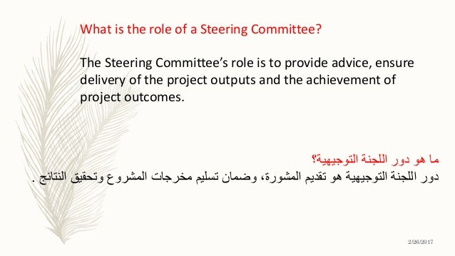 What is the role of a Steering Committee? The Steering Committee's role is to provide advice, ensure delivery of the proje...