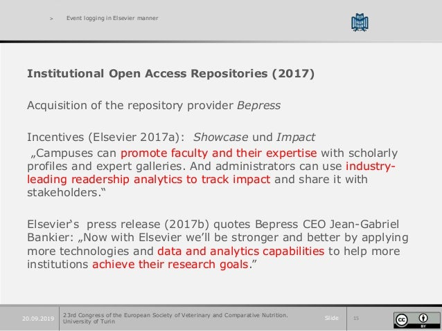 Slide 1520.09.2019 > Event logging in Elsevier manner Institutional Open Access Repositories (2017) Acquisition of the rep...