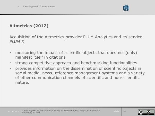 Slide 1620.09.2019 > Event logging in Elsevier manner Altmetrics (2017) Acquisition of the Altmetrics provider PLUM Analyt...